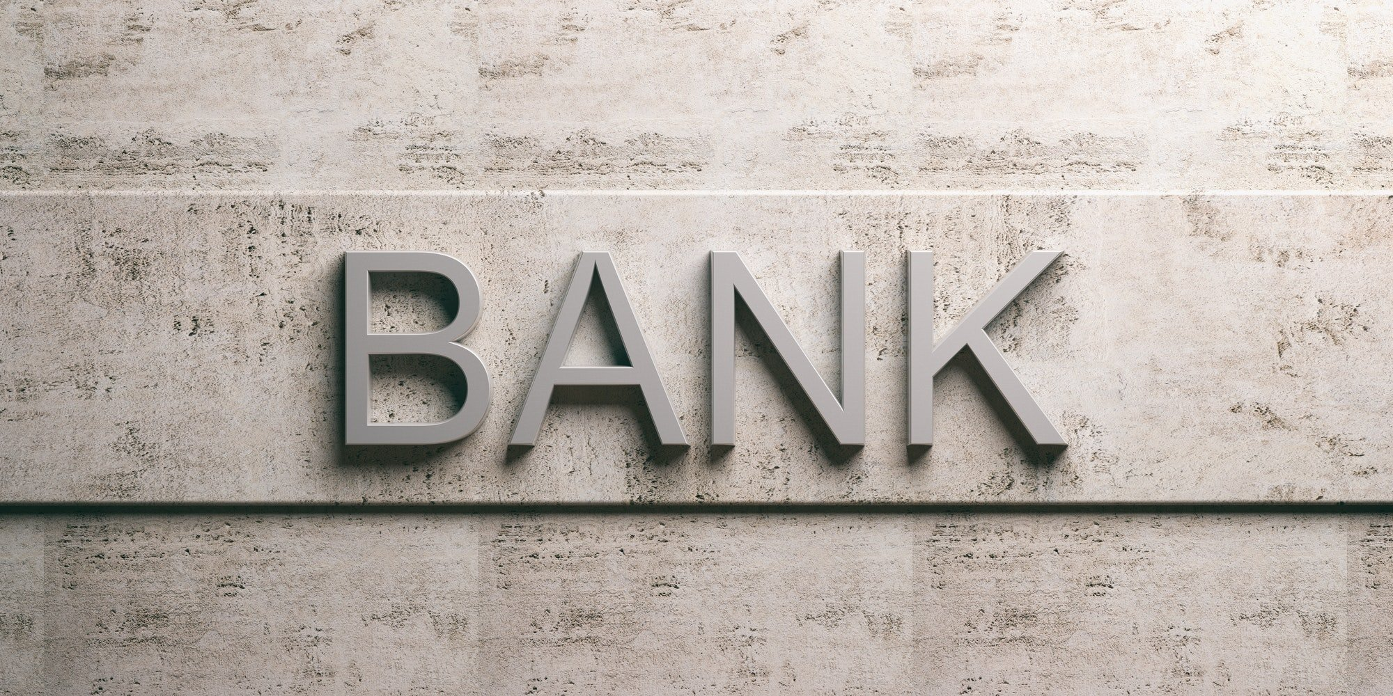 Bank sign on marble background. 3d illustration